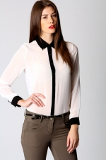 White blouse with black contrast like Robins at Boohoo