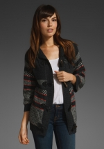 Striped grey black and red cardigan at Revolve