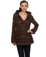 Striped toggle coat at Lulus
