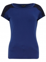 Blue top with black shoulders at Dorothy Perkins