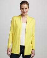Yellow open cardigan at Neiman Marcus