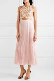 \'Guipure\' Lace and Pleated Midi Dress by Giambattista Valli at Net A Porter