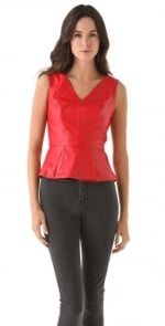 Red leather peplum top at Shopbop