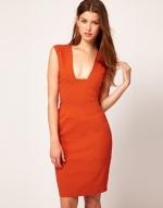 Orange pencil dress at Asos