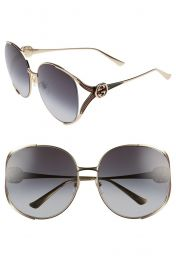 63mm Gradient Oversize Open Temple Round Sunglasses at Nordstrom