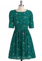 Green printed dress at Modcloth
