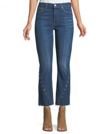 7 For All Mankind Edie Cropped Straight-Leg Jeans w/ Grommets at Neiman Marcus