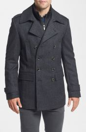 7 Diamonds and39Glasgowand39 Regular Fit Double Breasted Coat in charcoal at Nordstrom