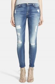 7 For All Mankind   Destroyed Ankle Skinny Jeans  Distressed Authentic Light at Nordstrom