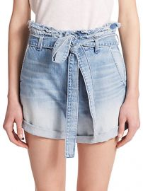 7 For All Mankind - Paperbag-Waist Denim Shorts at Saks Fifth Avenue