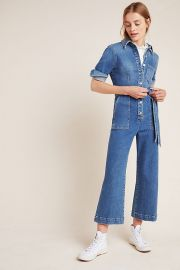 7 For All Mankind Alexa Cropped Denim Jumpsuit at Anthropologie