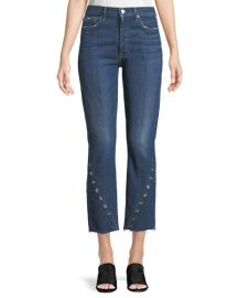 7 For All Mankind Edie Cropped Straight-Leg Jeans w/ Grommets at Bergdorf Goodman