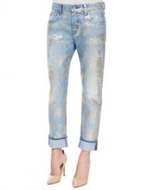 7 For All Mankind The Cropped Relaxed Skinny Jeans Gold Fossil Leaf at Neiman Marcus