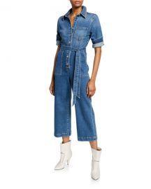 7 for all mankind Alexa Cropped Denim Jumpsuit at Neiman Marcus