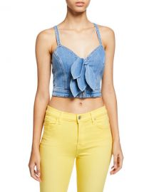7 for all mankind Cropped Double Tie-Front Denim Bustier at Neiman Marcus