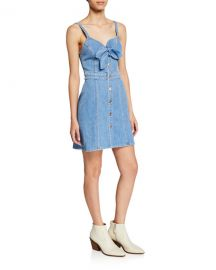 7 for all mankind Double Bow-Front Sweetheart Sleeveless Denim Dress at Neiman Marcus