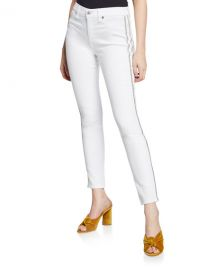 7 for all mankind High-Waist Ankle Skinny Jeans with Silver-Stripe Details at Neiman Marcus