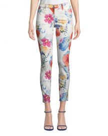 7 for all mankind The Ankle Skinny Mid-Rise Floral-Print Jeans at Neiman Marcus