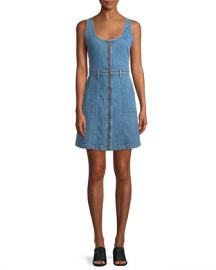 7 for all mankind Zip-Front Denim Mini Dress at Neiman Marcus