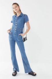 70s Denim Collared Button-Front Jumpsuit by BDG at Urban Outfitters