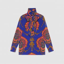 70s Graphic Print Silk Shirt by Gucci at Gucci