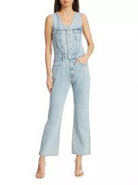 70s Slim-Fit Flare Denim Vest Jumpsuit at Saks Fifth Avenue