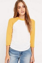 70s baseball tee in Mustard at Urban Outfitters