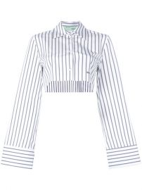 710 Off-White Cropped Striped Shirt - Buy Online - Fast Delivery  Price  Photo at Farfetch