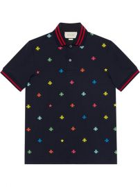 750 Gucci Cotton Polo with Bees And Stars - Buy Online - Fast Delivery  Price  Photo at Farfetch
