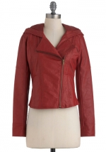 Red leather style jacket at Modcloth