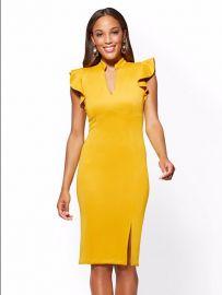 7th Avenue Ruffled V-Neck Sheath Dress by New York & Company at NY&C