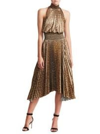A.L.C. - LEOPARD RENZO PLEATED A-LINE HANDKERCHIEF DRESS at Saks Fifth Avenue