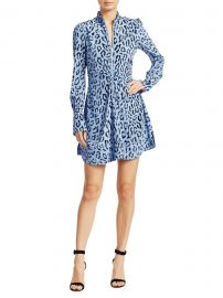 A L C  - Marcella Leopard Print Silk Long-Sleeve Dress at Saks Fifth Avenue