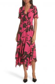 A L C  Cora Print Silk Midi Wrap Dress at Nordstrom