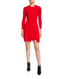 A L C  Hadley Long-Sleeve Dress w  Slit Skirt Overlay at Neiman Marcus