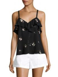 A L C  - Ari Ruffle Silk Top at Saks Fifth Avenue