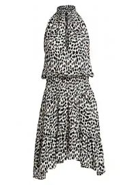 A L C  - Cody Leopard Print Silk Halter Handkerchief Dress at Saks Fifth Avenue