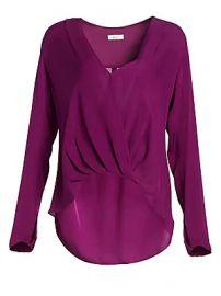 A L C  - Harmon Drape V-Neck Silk Blouse at Saks Fifth Avenue