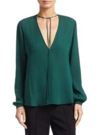 A L C  - Kirk Long-Sleeve Silk V-Neck Blouse at Saks Fifth Avenue