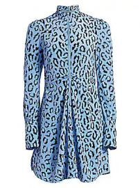 A L C  - Marcella Leopard Print Silk Long-Sleeve Dress at Saks Fifth Avenue
