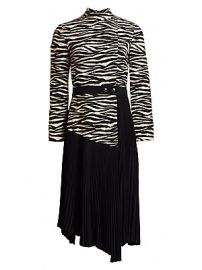 A L C  - Peyton Tiger-Print Paneled  amp  Pleated Dress at Saks Fifth Avenue