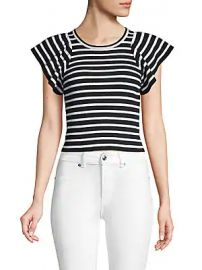 A L C  - Striped Flutter-Sleeve Top at Saks Off 5th