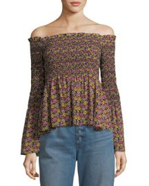 A L C  Agra Off-the-Shoulder Floral-Print Silk Top at Neiman Marcus