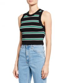 A L C  Archer Striped Sleeveless Crop Top at Neiman Marcus