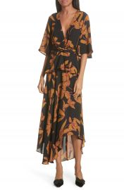 A L C  Avi Print Silk Midi Dress at Nordstrom