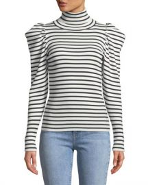 A L C  Baker Striped Puff-Sleeve Turtleneck Sweater at Neiman Marcus