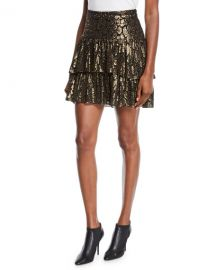 A L C  Baxter Tiered Metallic Ruffle Skirt at Neiman Marcus