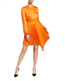 A L C  Behati Pleated Long-Sleeve Asymmetric Dress at Neiman Marcus