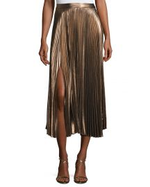A L C  Bobby Pleated Lam  233  Midi Skirt  Rose Gold at Neiman Marcus