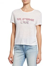 A L C  California Love Short-Sleeve Linen Slogan Tee at Neiman Marcus